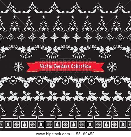 Seamless vector borders element happy new year and christmas collection