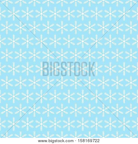 Blue and white seamless snowflake pattern. Vector image.