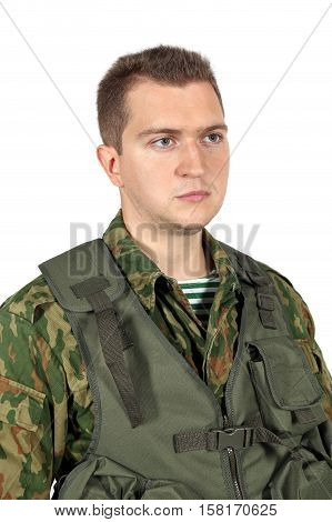 Military serviceman portrait. Iisolated on white background
