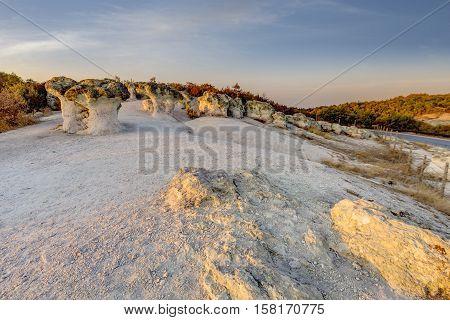Mushroom Rock Phenomenon At Sunset