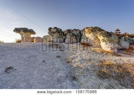 Mushroom Rock Phenomenon At Sunset