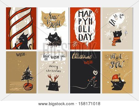 Hand drawn vector Merry Christmas greeting card set with cute funny black cats characters in winter clothing, Christmas trees, candy cane, caroling, snowman, sign and modern calligraphy.Journaling cards.