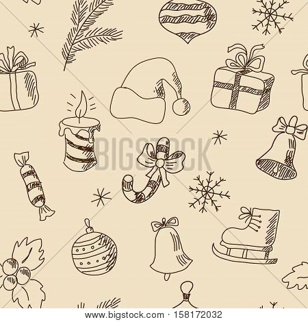 Seamless Christmas Pattern With Festive Elements