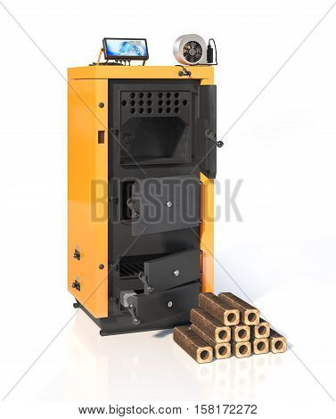 Open solid fuel boiler. Isolated on white background. 3d illustration