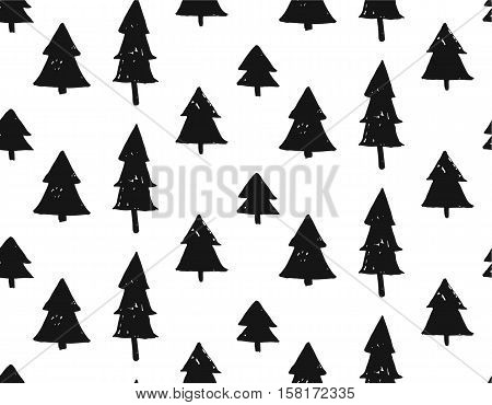 hand drawn vector abstract scandinavian Christmas pattern with geometric rough Christmas trees in black and white colors.Monochrome Christmas pattern.Wrapping paper.Journaling.Winter forest concept.