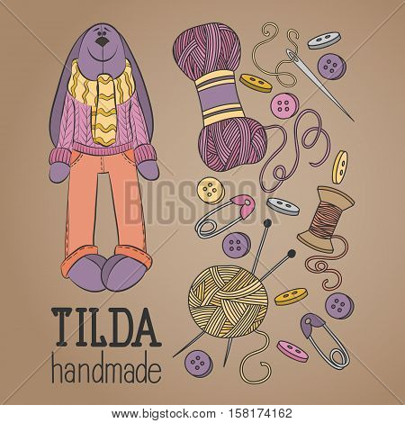 Colorful vector hand drawn set of object Hand Made Tilde doll hare cartoon doodle symbols and items.