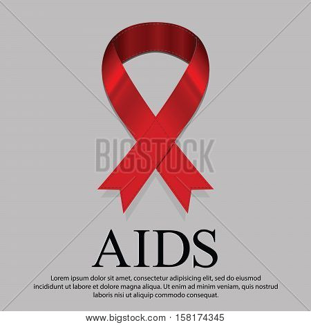 Every day on 1 December is World AIDS day. Illustration representative with red ribbon mourning sign on News page.