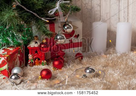 Christmas gifts and decoration under the tree