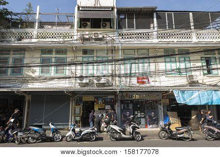 BANGKOK THAILAND - NOV 22 : scene of buliding in Tha Prachan near Thammasat University on november 22 2016. Tha Prachan is one of historic place in old city of Bangkok