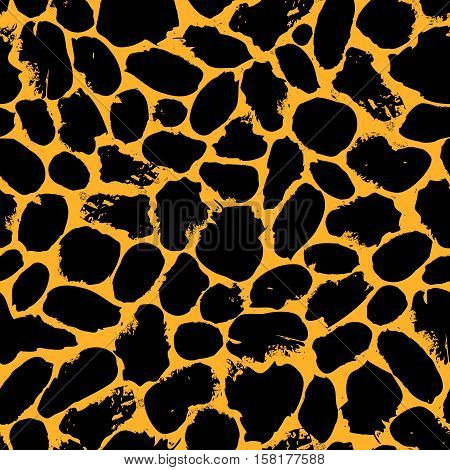 Black on orange leopard, cheetah vector seamless pattern. Seamless pattern of black leopart, cheetah spots and on yellow fir background