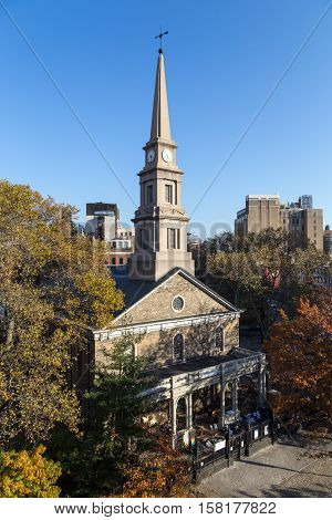 New York, United States of America - November 17, 2016: Exterior view of St. Marks Church-In-The-Bowery in Manhattan