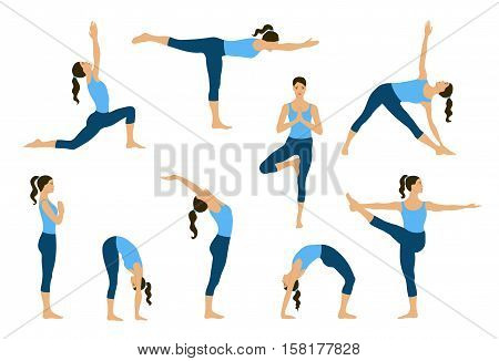 Set of yoga poses. Young women do yoga exercises. Yogi in yoga asana. Vector yoga illustration. Healthy lifestyle with yoga poses. Isolated yoga girls silhouettes.