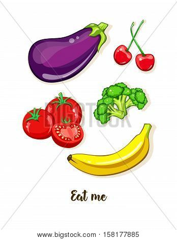 Vegetarian food. Vegetable and fruit. Vector sticker, patch set isolated on white. Vegan kitchen, healthy organic eating, diet. Glossy Tomato, eggplant, broccoli, banana, cherry. Comics, cartoon style