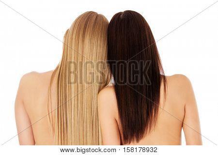 Long hair. Hairstyle. Hair salon. Woman with healthy hair.