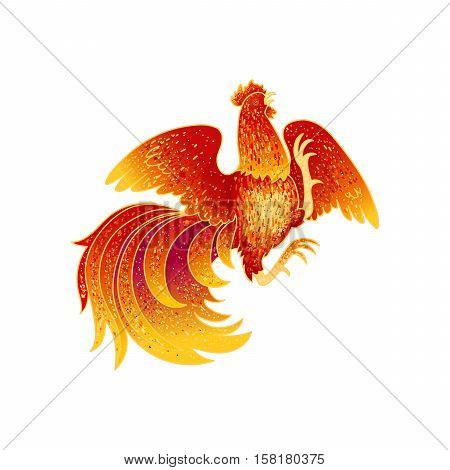 2017, the Year of the Fire Rooster in Chinese Horoscope. Red and gold colors, symbol of new year. Fire element. Hand drawn sketchy cartoon clip-art, vector illustration, isolated on white