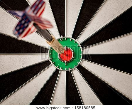 Closeup of a Dart with American Flag in Bullseye
