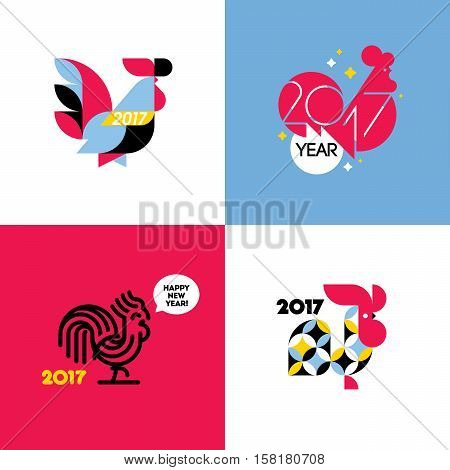 New Year design with silhouette of rooster. Set of modern flat style vector illustrations of cock as symbol of 2017 year on the Chinese calendar
