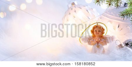 Christmas holidays composition on light blue background with copy space for your text