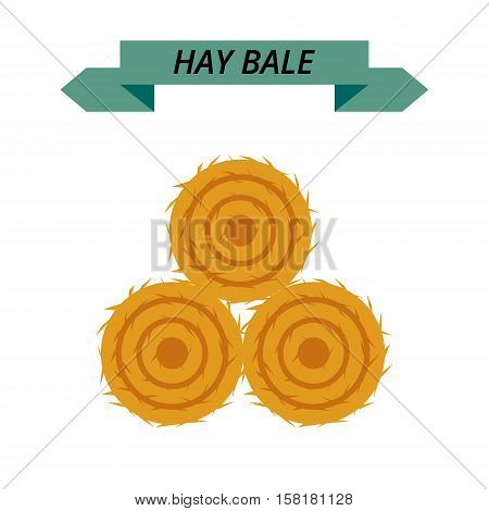Flat dried haystack isolated on white background. Farming haymow bale hayloft vector illustration, haystack, hayrick