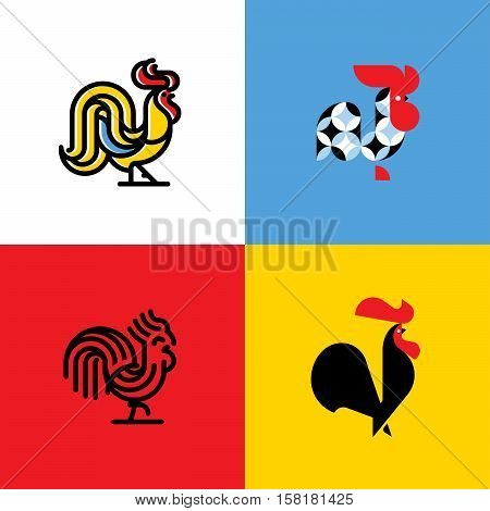 Set of rooster silhouettes. Modern flat vector logo template or icon