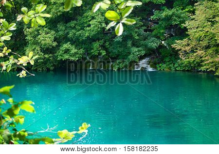 Lake with turquoise water. Cascade waterfall among foliage. Plitvice lakes national park Croatia