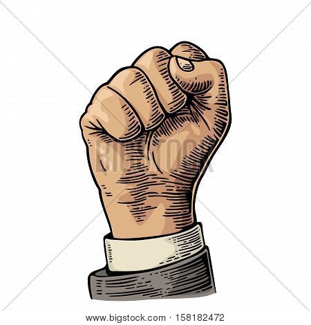 Human hand with a clenched fist. Vector color vintage engraved illustration isolated on a white background. Hand sign for web poster info graphic