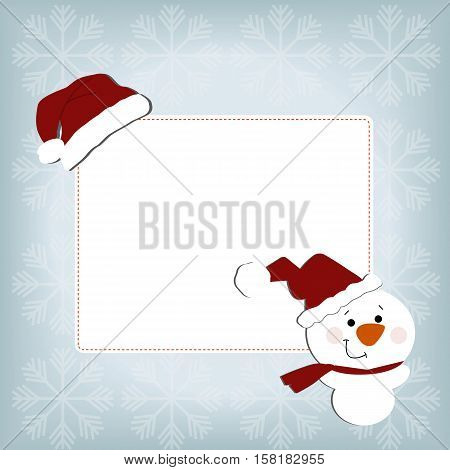cute baby holiday Christmas square frame on a blue background with snowflakes. With stickers snowman and Santa hat. Template for greeting card or a poster. Christmas vector illustration. Baby shower