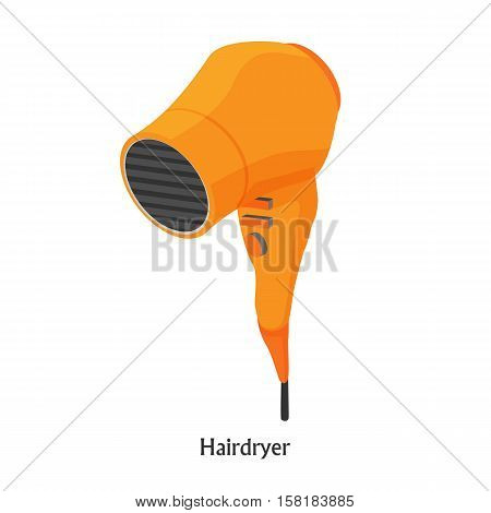 Hair dryers in a beauty salon. Vector color isometric illustration
