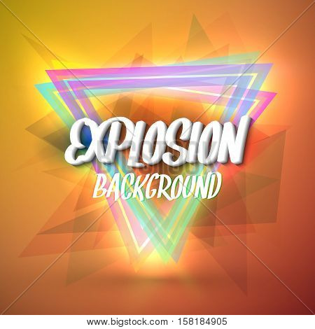 Illustration of Colorful Neon Style Abstract Explosion Background with Triangles and Particles