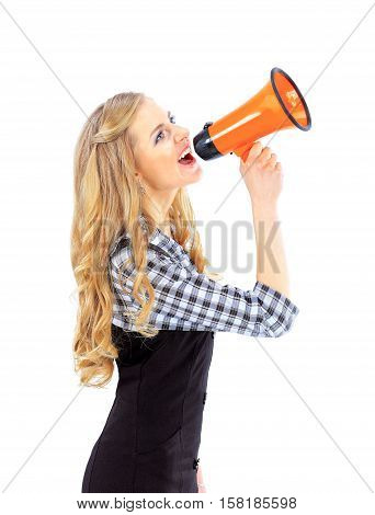 aspiring business woman with megaphone on a white background.the photo has a empty space for your text