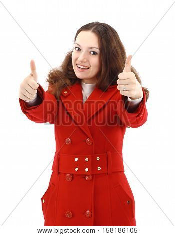 portrait of a happy young woman  in red coat on white background