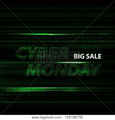 Cyber monday binary code design with motion text in vector. Big sale on green cover. Technology background with transparent hologram and neon lines