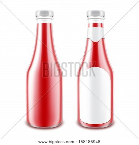 Vector Set of Blank Glass Glossy Red Tomato Ketchup Bottle for Branding without label Isolated on White Background