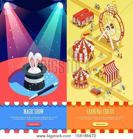 Circus magic show and carnival fairground 2 isometric vertical banners webpage design with striped tents Isolated vector illustration