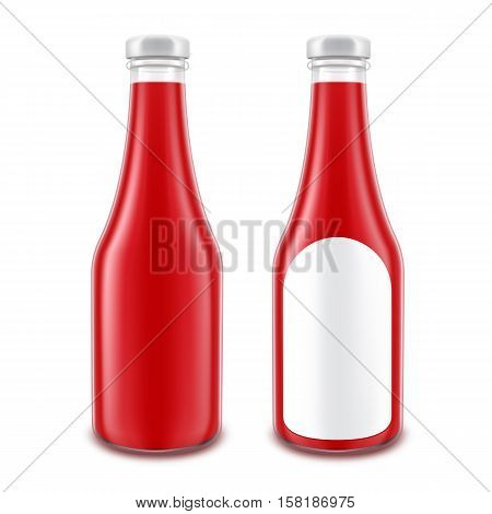 Vector Set of Blank Glass Red Tomato Ketchup Bottle for Branding without with Round Label Isolated on White Background