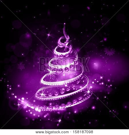 Christmas tree on night holiday background in purple shades with glitter shiny and bright explosion. Night sky with stars and fireworks in vector. Violet explosion.