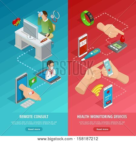 Digital health isometric vertical banners with different modern diagnostic gadgets and remote medical consultation vector illustration