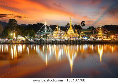 Wat Jongklang - Wat Jongkham the most favourite place for tourist in Mae hong son Thailand