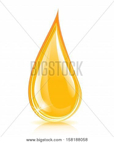 Illustration of yellow oil liquid drop concept
