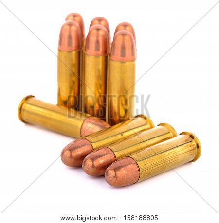 .38 mm bullet for a gun isolated on white background.