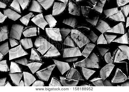Pile Of Firewood Pattern In Black And White.