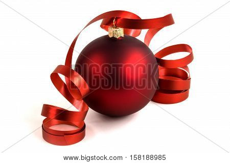 Christmas Ball red bauble with bow on white background