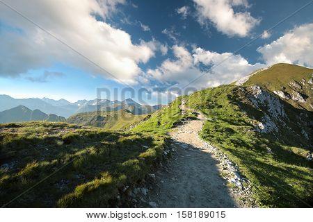 Trial to the peak in Tatra Mountains, Poland.