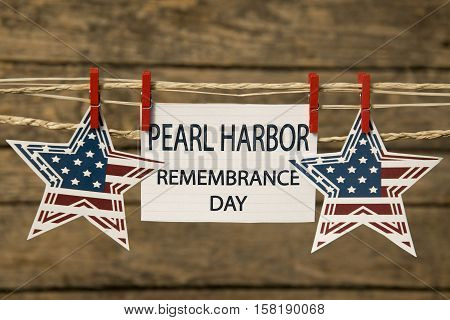 Pearl Harbor remembrance day card or background with stars.