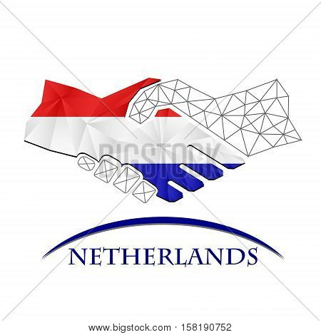 Handshake logo made from the flag of Netherlands.