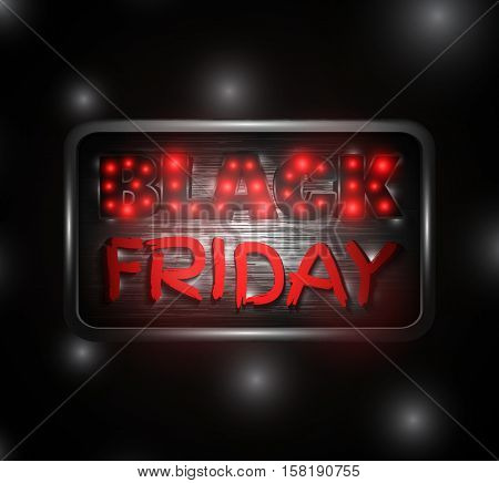 Black Friday Glowing Text On A Metal Plate