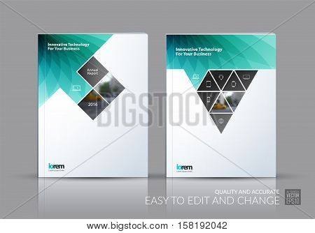 Business vector set. Brochure template layout, cover design annual report, magazine, flyer in A4 with rectangles, triangles, diagonal house window shape for real estate, business, building. Abstract.