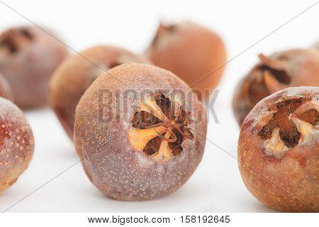 Close up of ripe common medlar fruit. Mespilus germanica