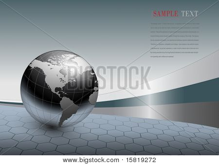 abstract business background, grey with world globe, vector.