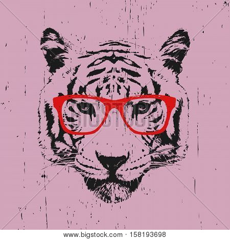 Portrait of Tioger with glasses. Hand-drawn illustration. Vector.